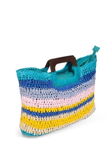 Mavi Renkli Hasır Çanta Mavi